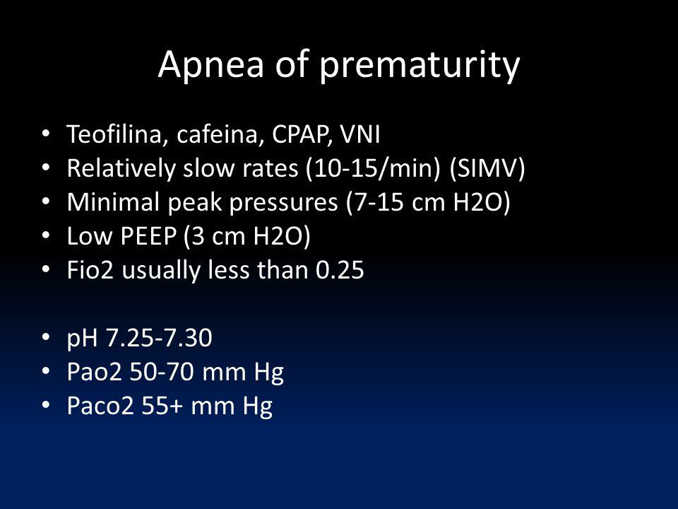 Apnea of prematurity Teofilina, cafeina, CPAP, VNI
