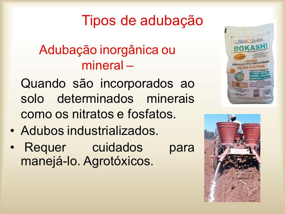Adubação inorgânica ou mineral –