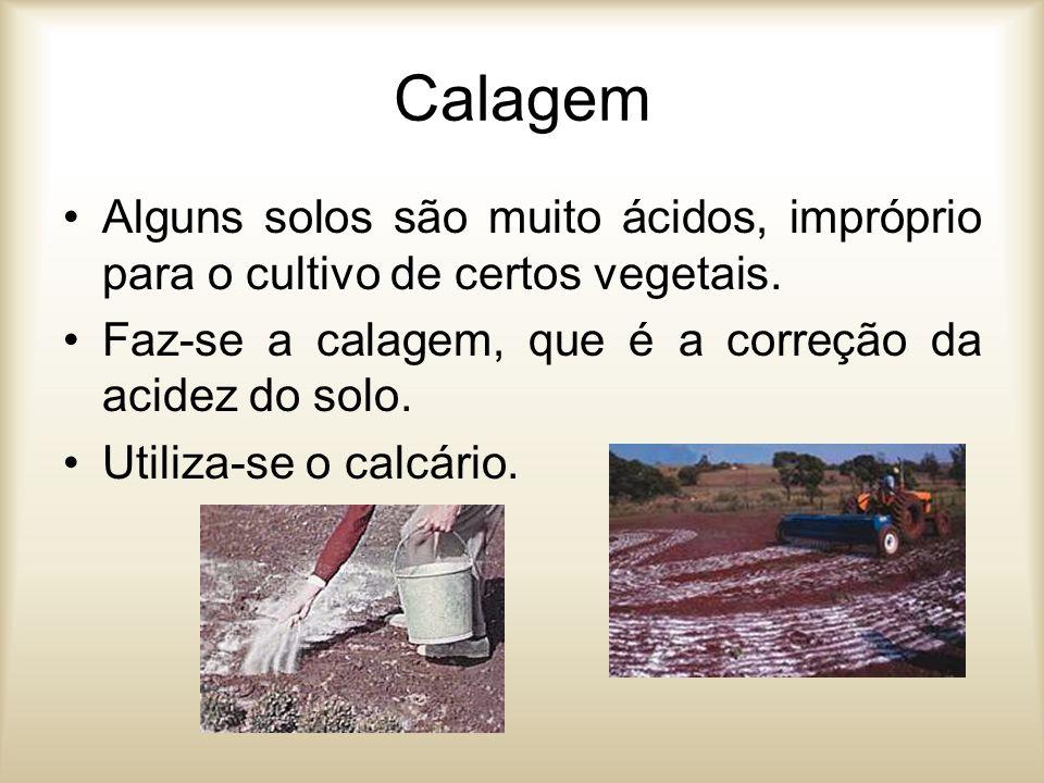 Calagem Alguns solos são muito ácidos, impróprio para o cultivo de certos vegetais. Faz-se a calagem, que é a correção da acidez do solo.