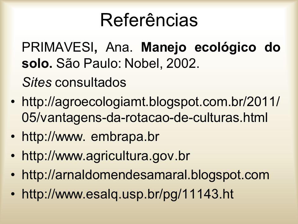 Referências PRIMAVESI, Ana. Manejo ecológico do solo. São Paulo: Nobel, 2002. Sites consultados.