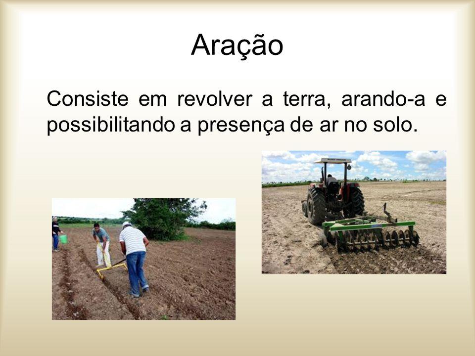 Aração Consiste em revolver a terra, arando-a e possibilitando a presença de ar no solo.