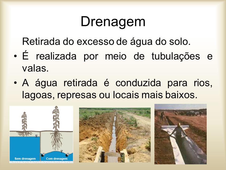 Drenagem Retirada do excesso de água do solo.