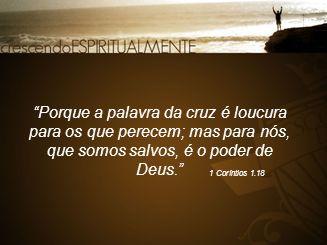 Porque a palavra da cruz é loucura para os que perecem; mas para nós, que somos salvos, é o poder de Deus.