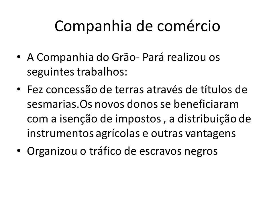Companhia de comércio A Companhia do Grão- Pará realizou os seguintes trabalhos:
