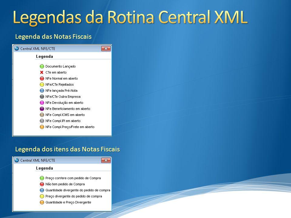 Legendas da Rotina Central XML