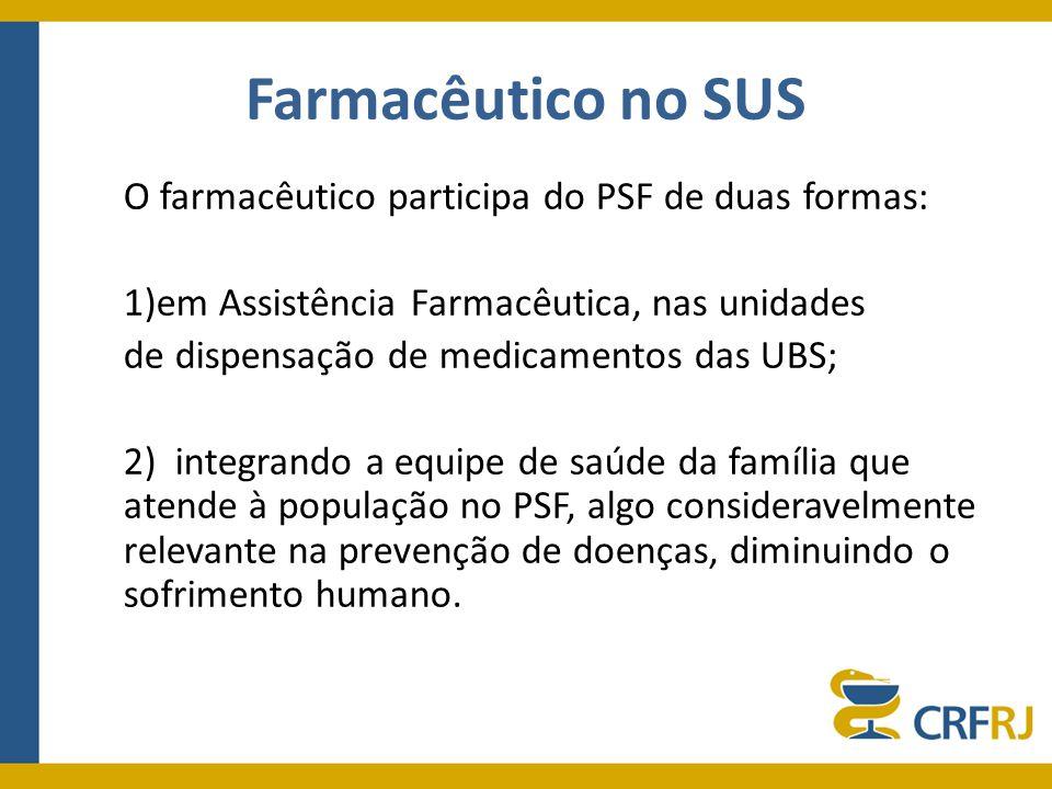 Farmacêutico no SUS O farmacêutico participa do PSF de duas formas: