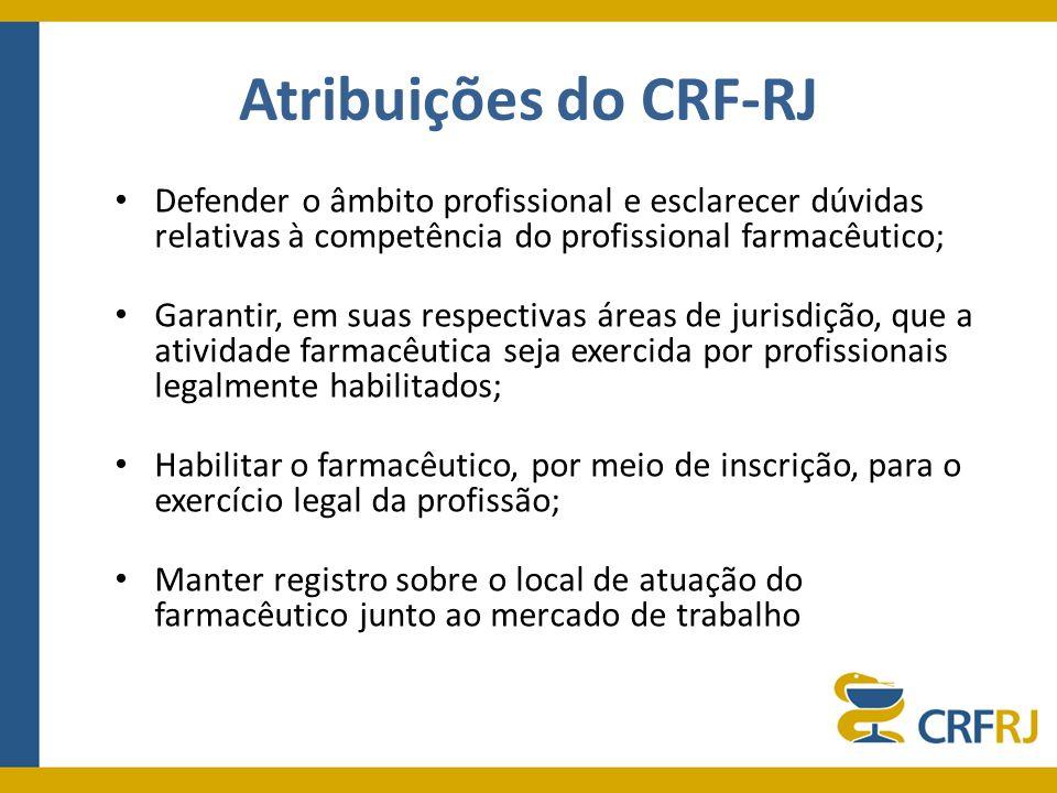 Atribuições do CRF-RJ Defender o âmbito profissional e esclarecer dúvidas relativas à competência do profissional farmacêutico;