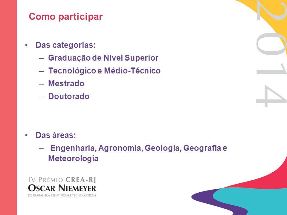 Como participar Das categorias: Graduação de Nível Superior
