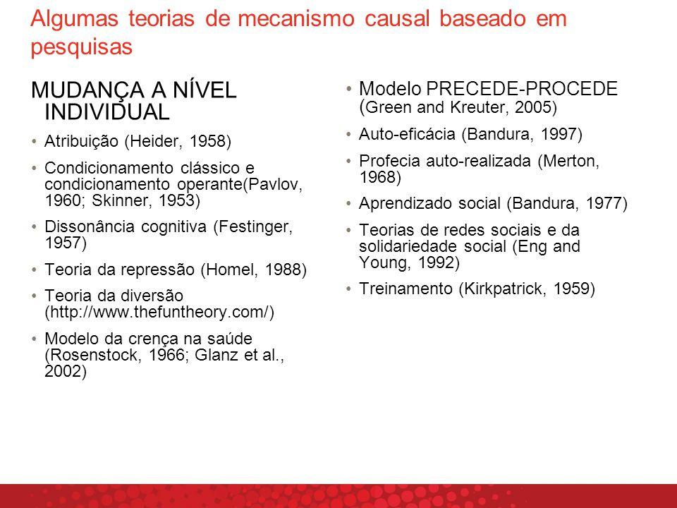 Algumas teorias de mecanismo causal baseado em pesquisas