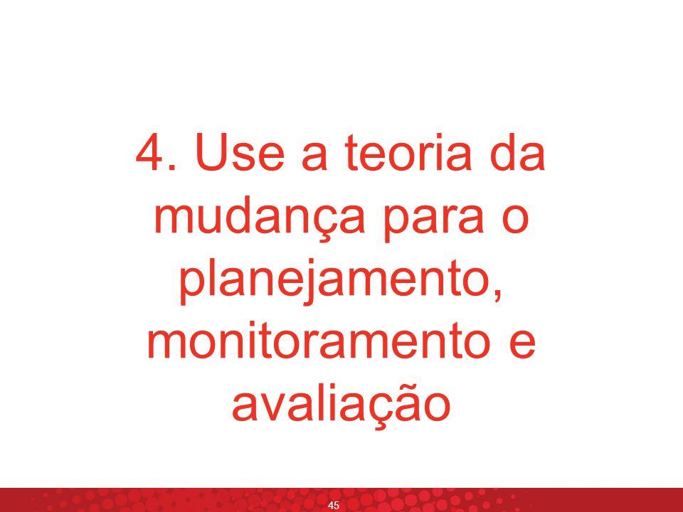 4. Use a teoria da mudança para o planejamento, monitoramento e avaliação
