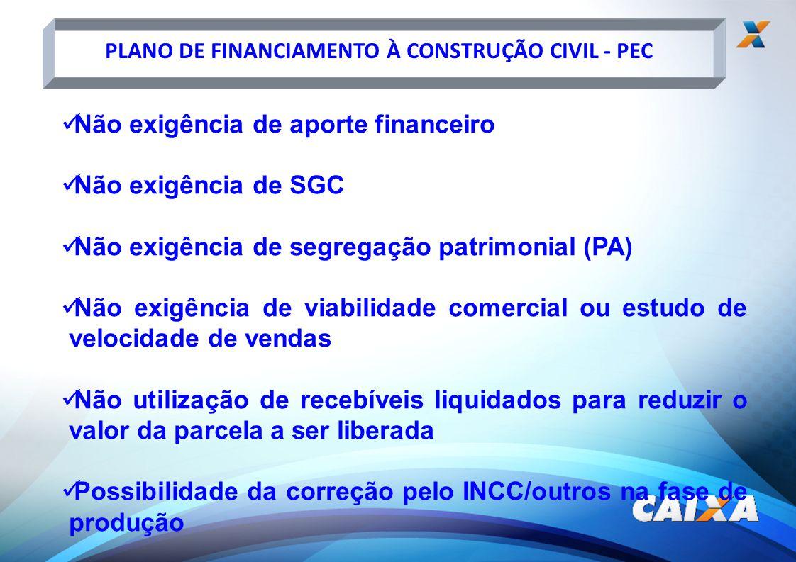 Não exigência de aporte financeiro Não exigência de SGC