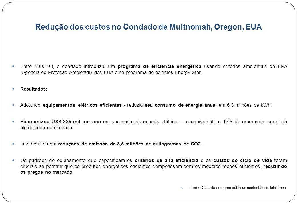 Redução dos custos no Condado de Multnomah, Oregon, EUA