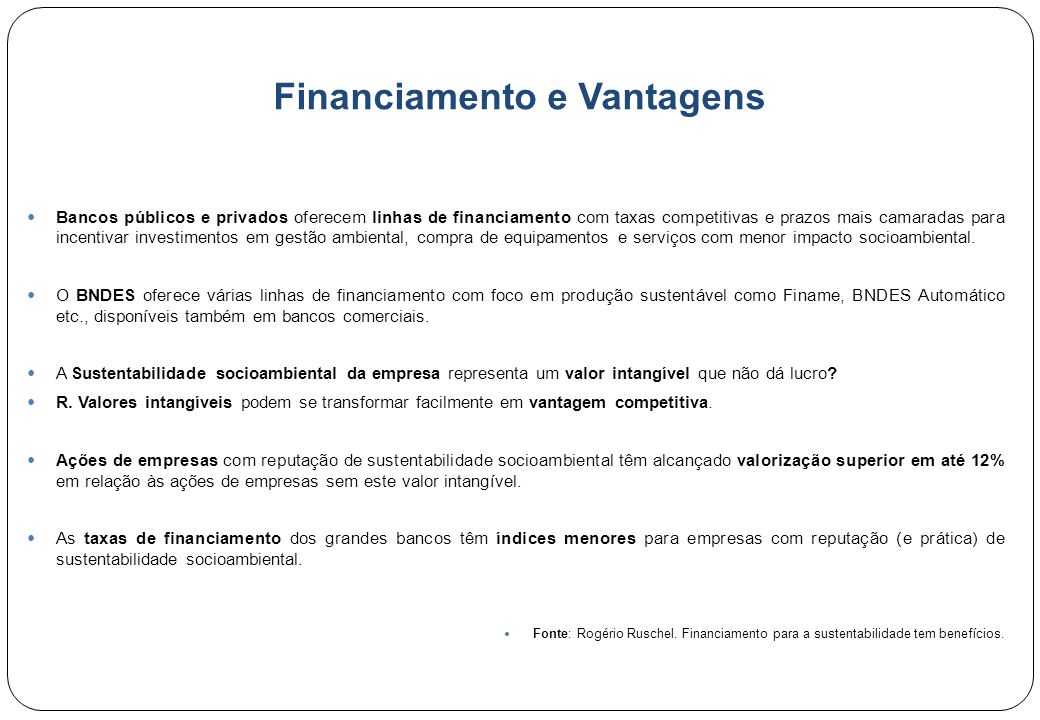 Financiamento e Vantagens