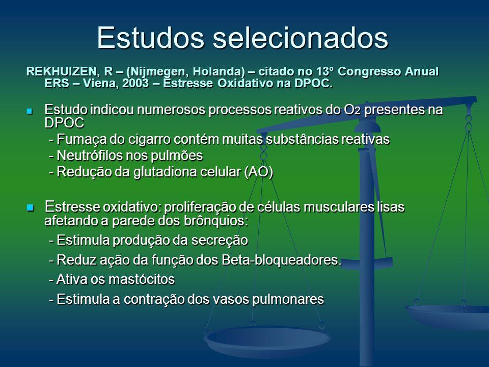 Estudos selecionados REKHUIZEN, R – (Nijmegen, Holanda) – citado no 13° Congresso Anual ERS – Viena, 2003 – Estresse Oxidativo na DPOC.