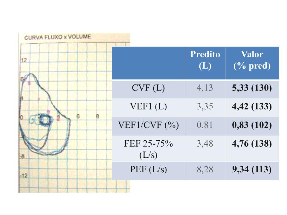 Predito (L) Valor. (% pred) CVF (L) 4,13. 5,33 (130) VEF1 (L) 3,35. 4,42 (133) VEF1/CVF (%)