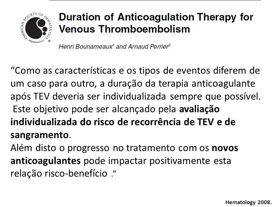 Como as características e os tipos de eventos diferem de um caso para outro, a duração da terapia anticoagulante após TEV deveria ser individualizada sempre que possível.