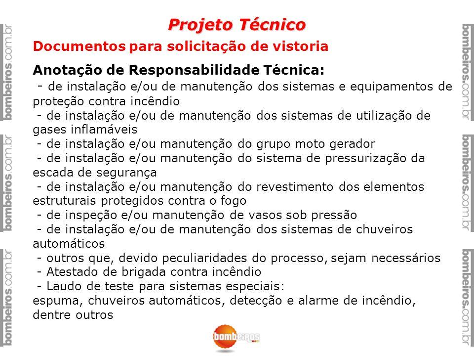 Projeto Técnico Documentos para solicitação de vistoria