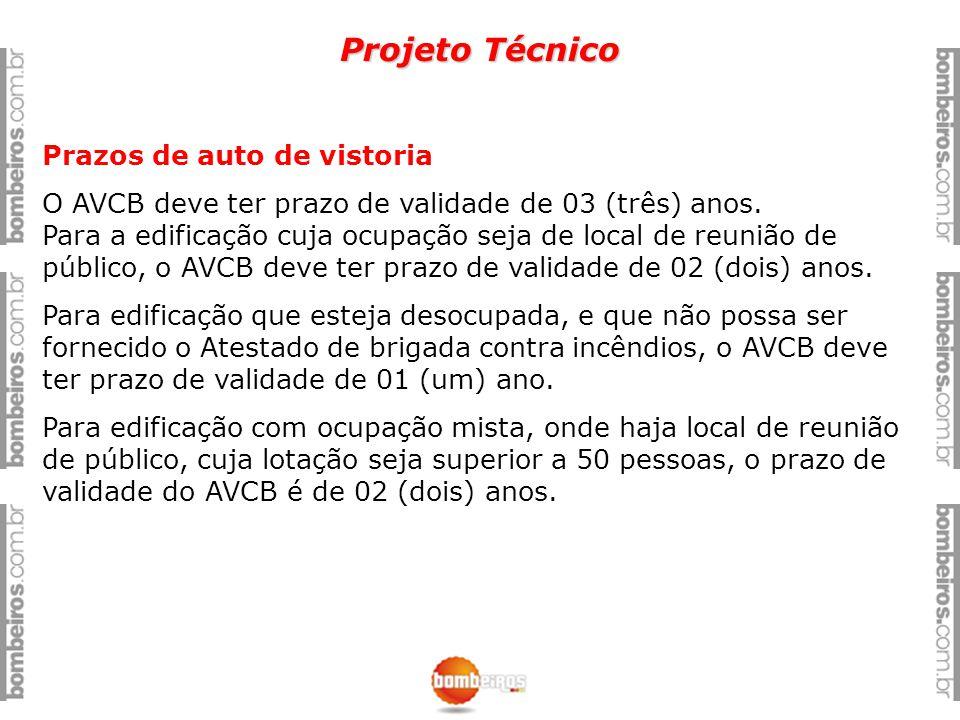 Projeto Técnico Prazos de auto de vistoria