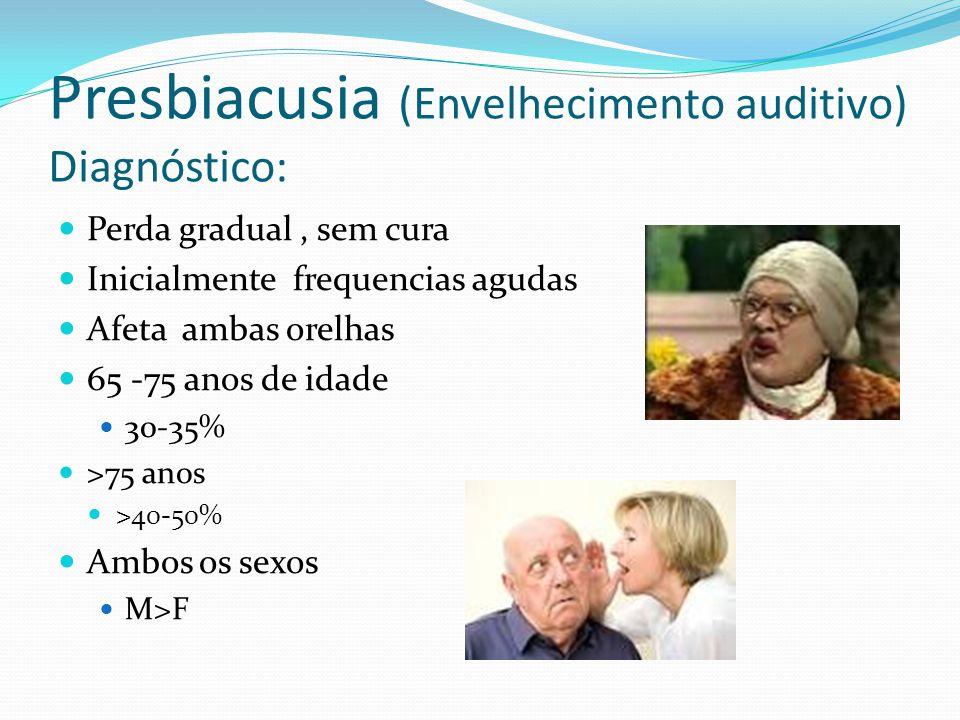Presbiacusia (Envelhecimento auditivo) Diagnóstico: