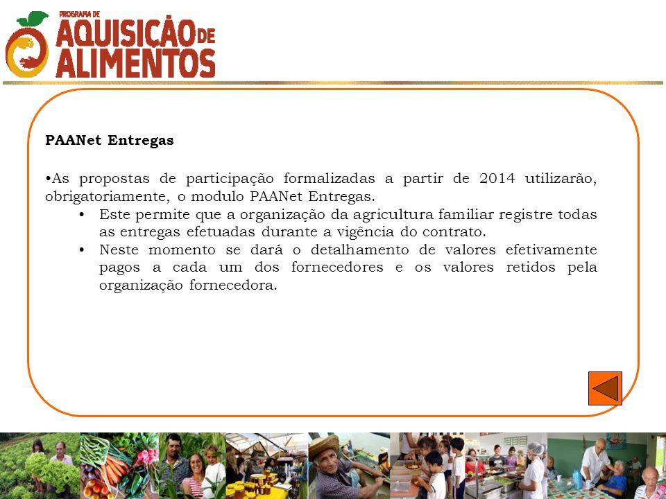 PAANet Entregas As propostas de participação formalizadas a partir de 2014 utilizarão, obrigatoriamente, o modulo PAANet Entregas.