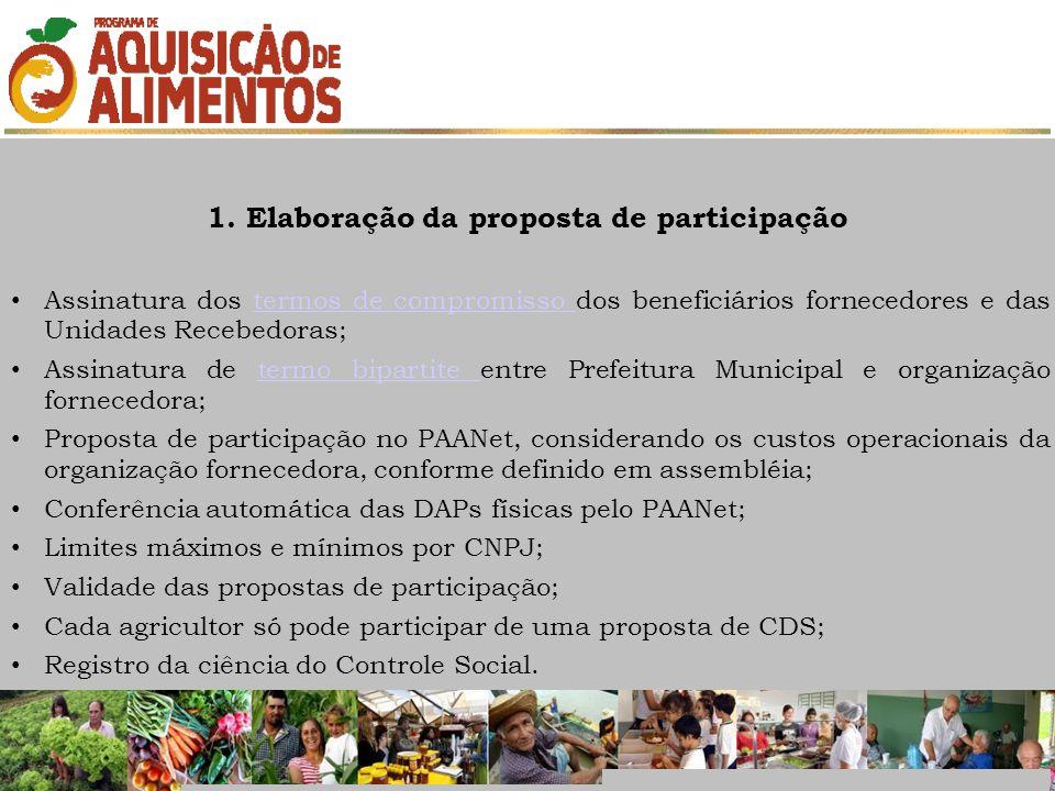 1. Elaboração da proposta de participação