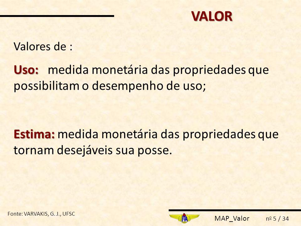VALOR Valores de : Uso: medida monetária das propriedades que possibilitam o desempenho de uso;