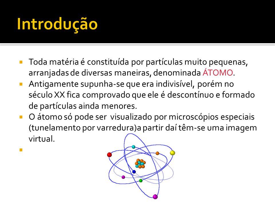 Introdução Toda matéria é constituída por partículas muito pequenas, arranjadas de diversas maneiras, denominada ÁTOMO.
