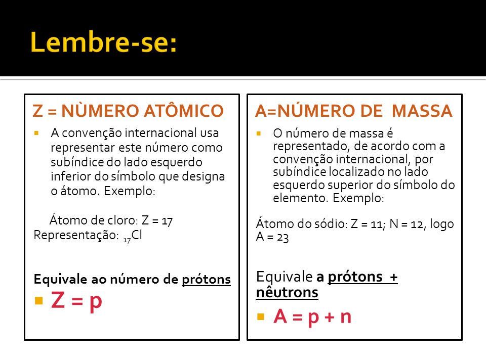 Lembre-se: Z = p A = p + n Z = NÙMERO ATÔMICO A=número de MASsa