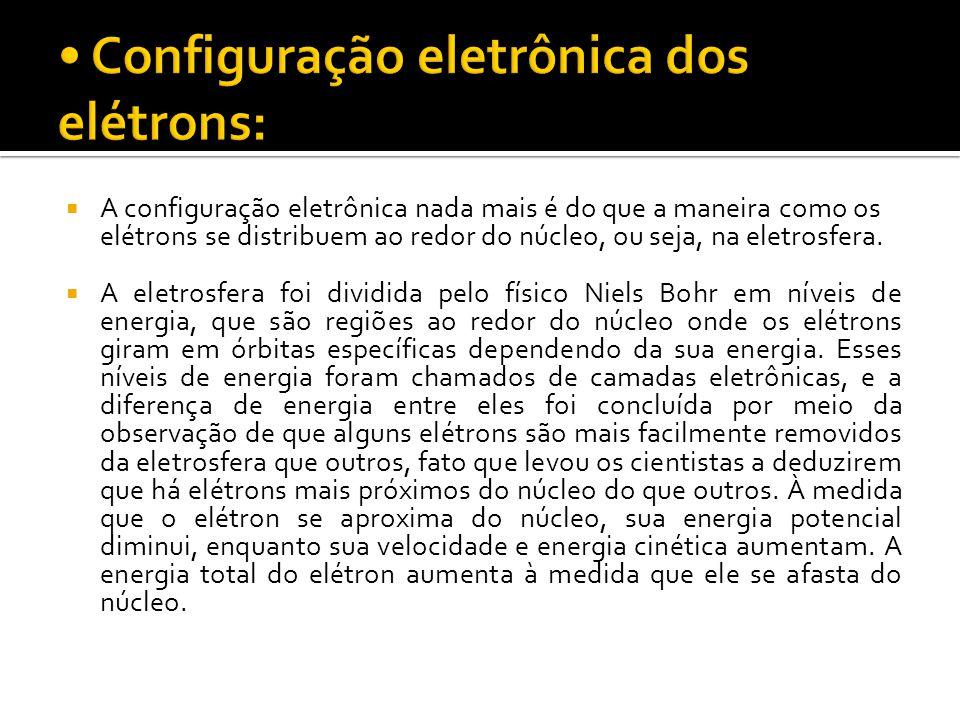 • Configuração eletrônica dos elétrons: