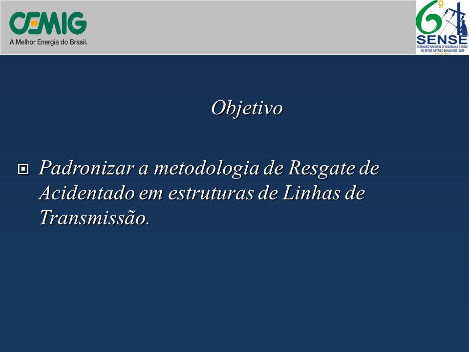 Objetivo Padronizar a metodologia de Resgate de Acidentado em estruturas de Linhas de Transmissão.