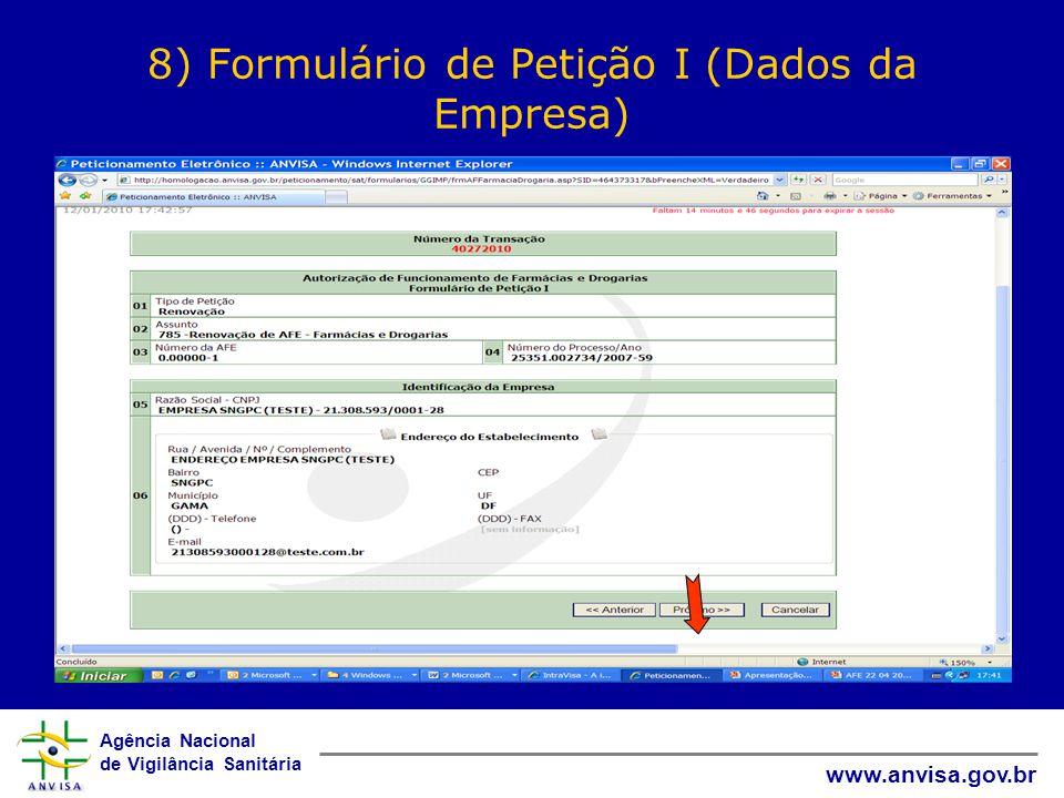 8) Formulário de Petição I (Dados da Empresa)