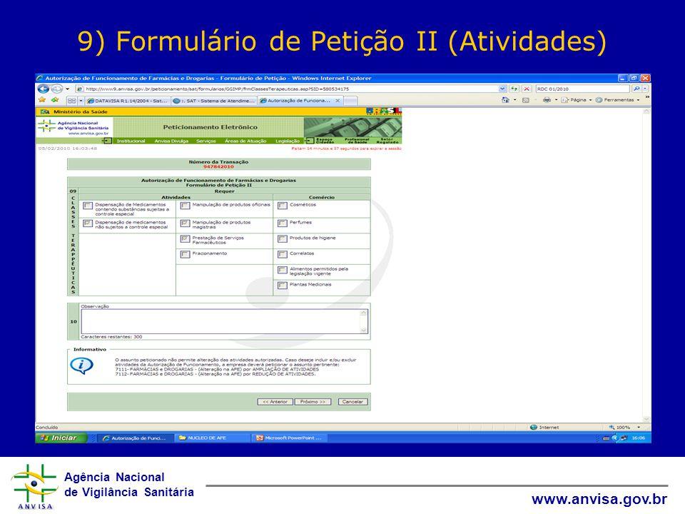 9) Formulário de Petição II (Atividades)