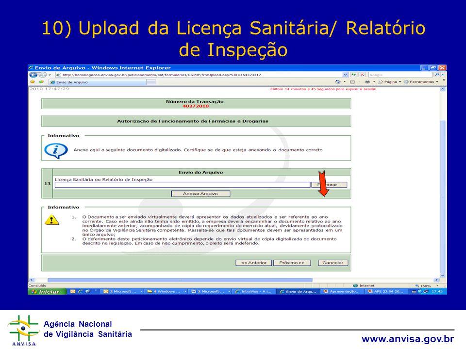 10) Upload da Licença Sanitária/ Relatório de Inspeção