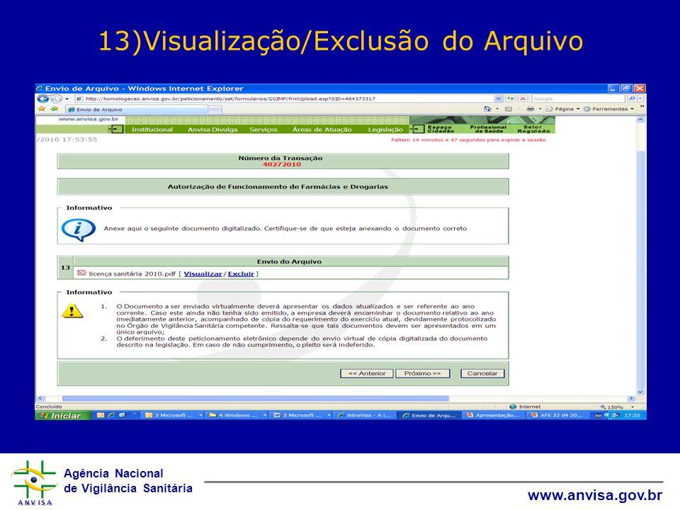 13)Visualização/Exclusão do Arquivo