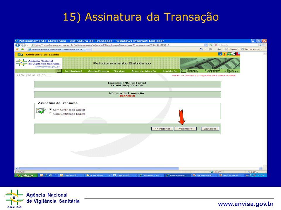 15) Assinatura da Transação