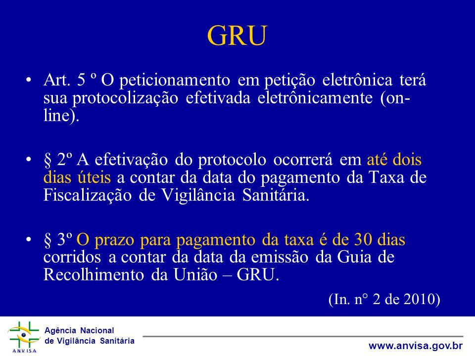 GRU Art. 5 º O peticionamento em petição eletrônica terá sua protocolização efetivada eletrônicamente (on-line).