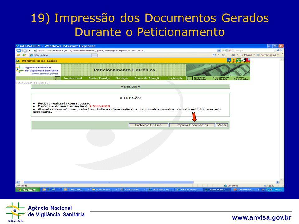 19) Impressão dos Documentos Gerados Durante o Peticionamento