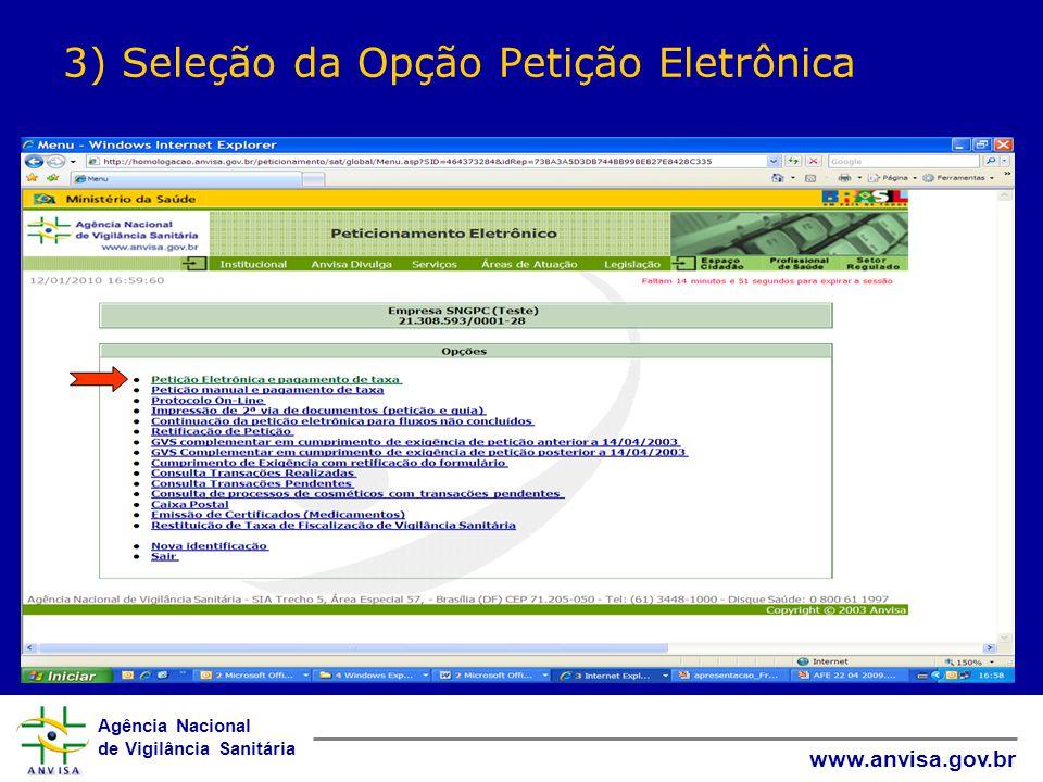 3) Seleção da Opção Petição Eletrônica