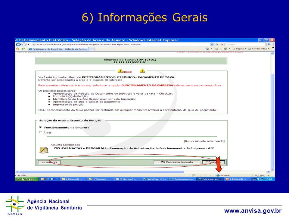 6) Informações Gerais