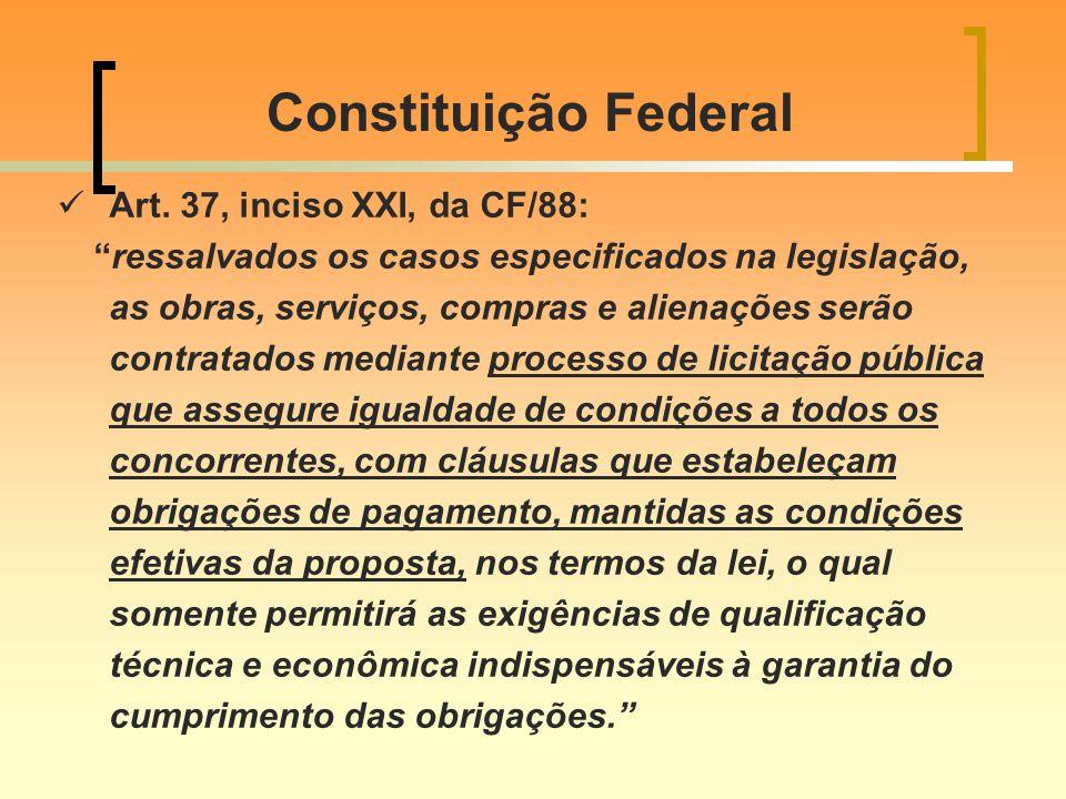 Constituição Federal Art. 37, inciso XXI, da CF/88: