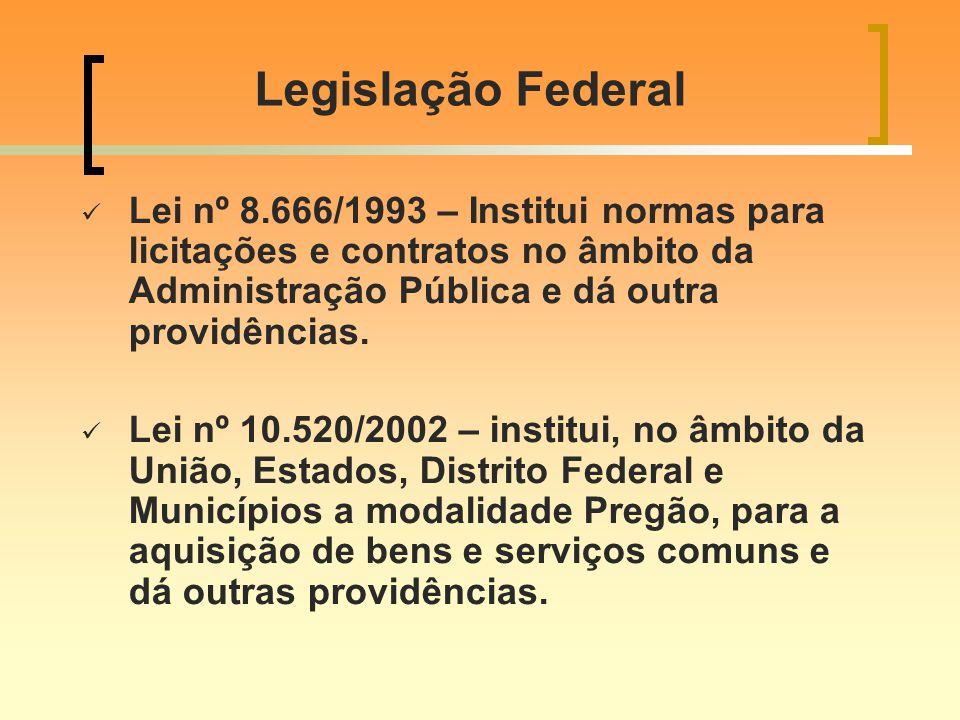 Legislação Federal Lei nº 8.666/1993 – Institui normas para licitações e contratos no âmbito da Administração Pública e dá outra providências.