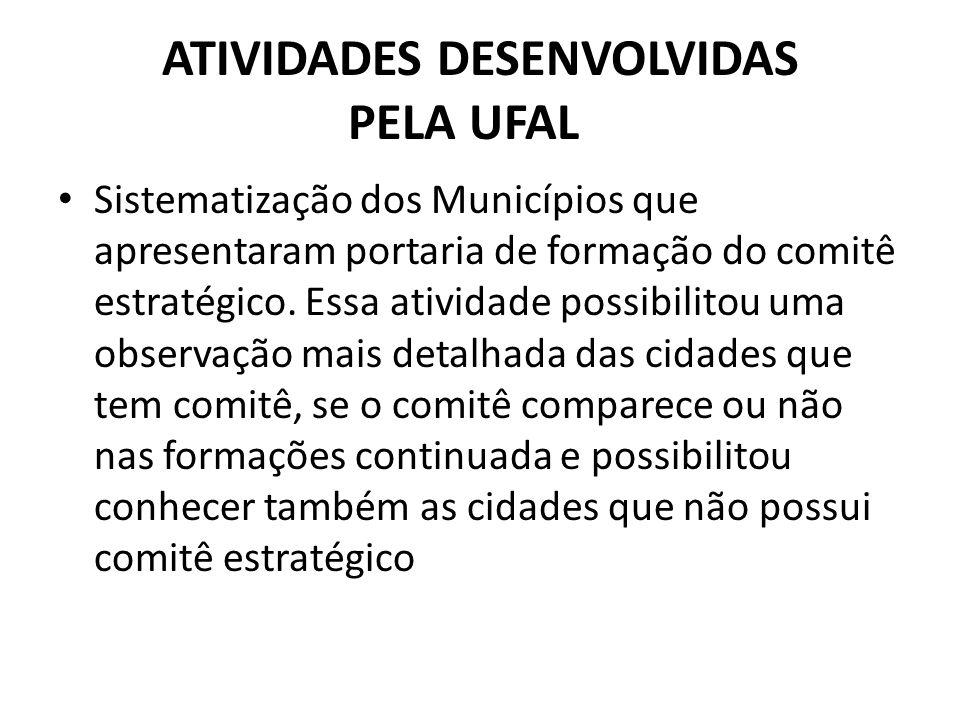 ATIVIDADES DESENVOLVIDAS PELA UFAL