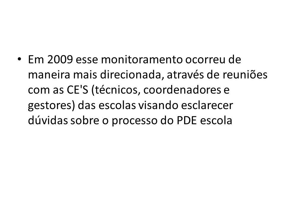 Em 2009 esse monitoramento ocorreu de maneira mais direcionada, através de reuniões com as CE S (técnicos, coordenadores e gestores) das escolas visando esclarecer dúvidas sobre o processo do PDE escola