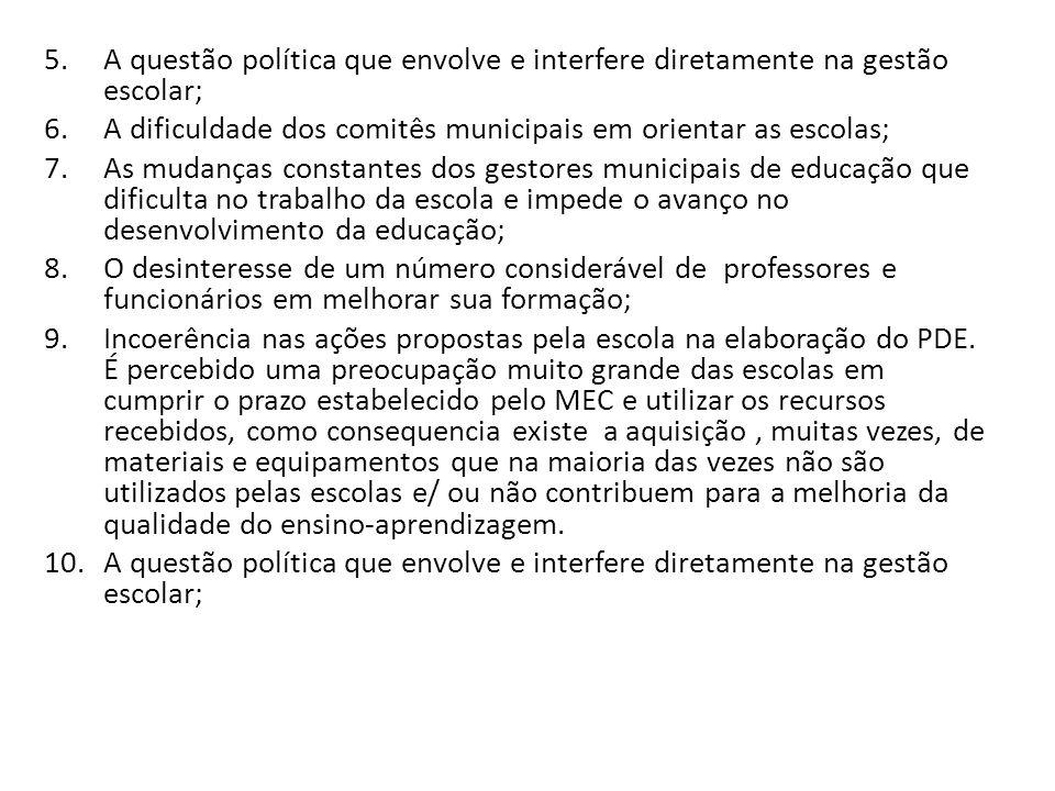A questão política que envolve e interfere diretamente na gestão escolar;