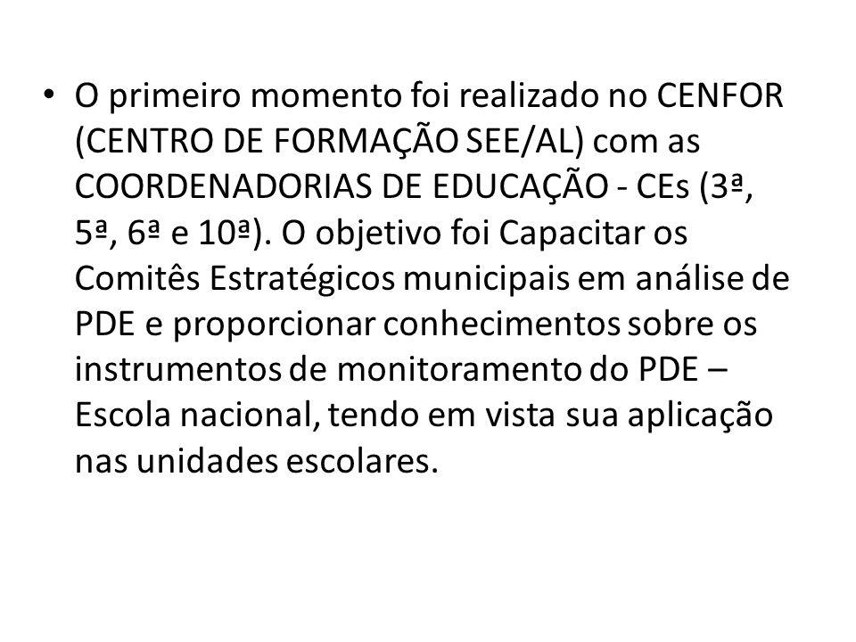 O primeiro momento foi realizado no CENFOR (CENTRO DE FORMAÇÃO SEE/AL) com as COORDENADORIAS DE EDUCAÇÃO - CEs (3ª, 5ª, 6ª e 10ª).