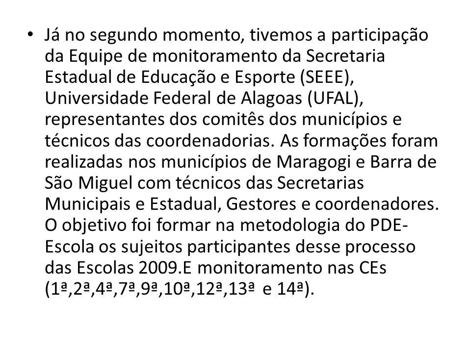 Já no segundo momento, tivemos a participação da Equipe de monitoramento da Secretaria Estadual de Educação e Esporte (SEEE), Universidade Federal de Alagoas (UFAL), representantes dos comitês dos municípios e técnicos das coordenadorias.
