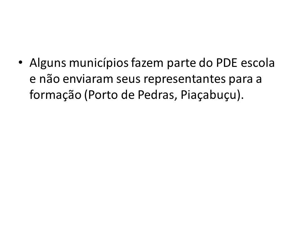 Alguns municípios fazem parte do PDE escola e não enviaram seus representantes para a formação (Porto de Pedras, Piaçabuçu).
