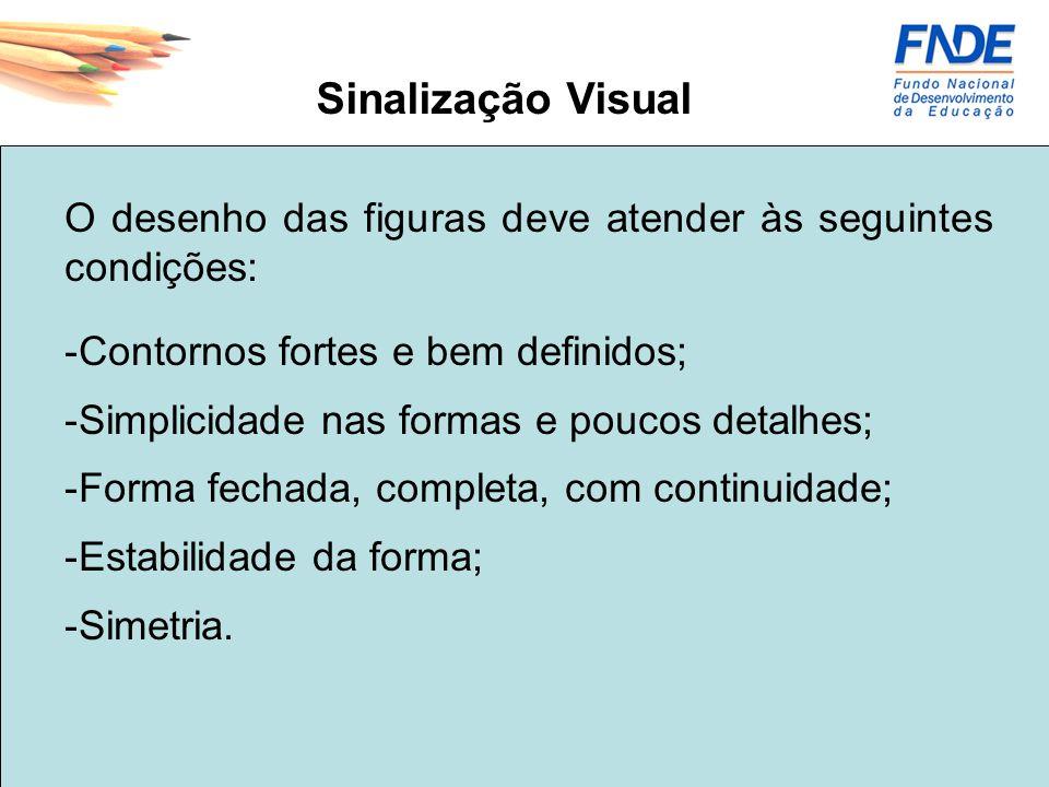 Sinalização Visual O desenho das figuras deve atender às seguintes condições: Contornos fortes e bem definidos;