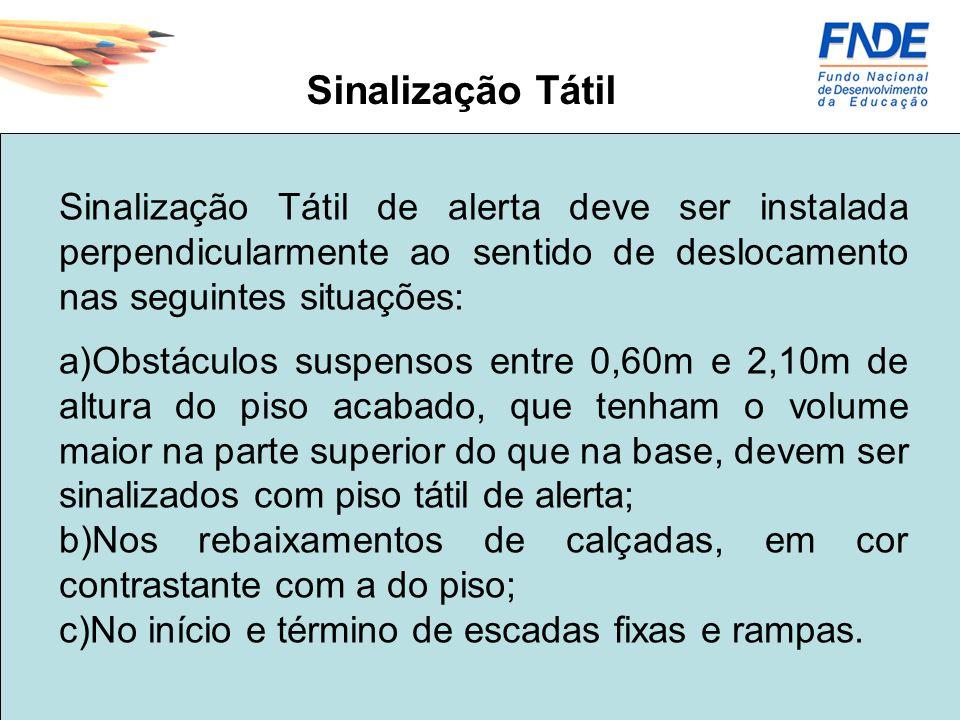 Sinalização Tátil Sinalização Tátil de alerta deve ser instalada perpendicularmente ao sentido de deslocamento nas seguintes situações: