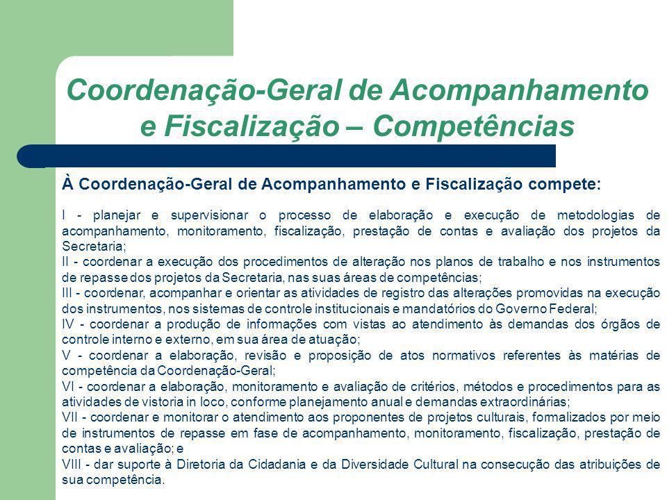 Coordenação-Geral de Acompanhamento e Fiscalização – Competências